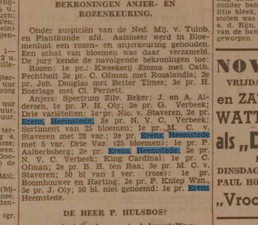 Bekroningen kwekerij Emile Erens. Uit: Leidsch Dagblad van 23 oktober 1941