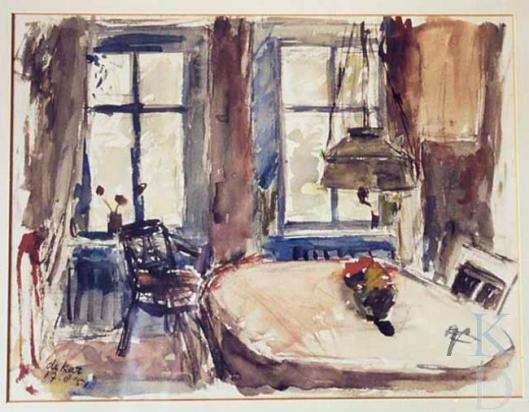 Door Otto B.de kat in 1951 vervaarddigde aquarel van woonkamer Emile Erens in het Oude Slot Heemstede (RKD)