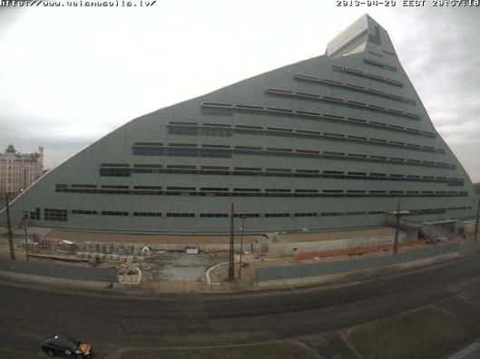 Het nieuwe gebouw van de Nationale Bibliotheek van Letland in Riga (2013)