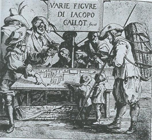 Prent- en boekverkoper. Gravure door Jacques Callot (1592-1635). Uit: Straatverkopers in beeld, p. 21.