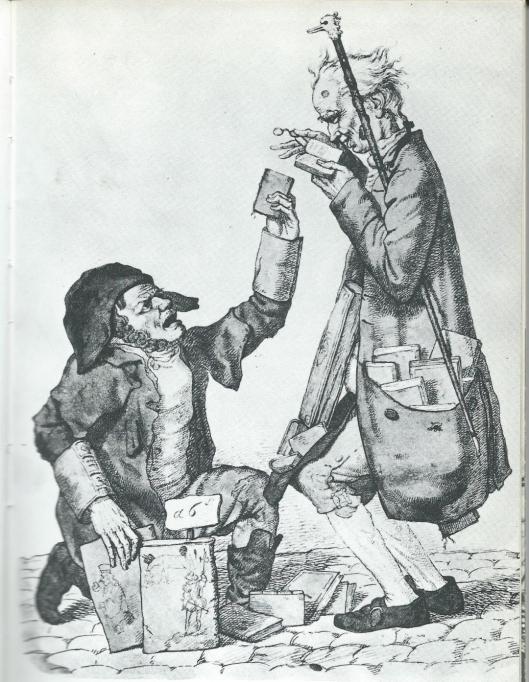 Een boekenverzamelaar ontmoet een colporteur (gravure door Boilly, 1790)