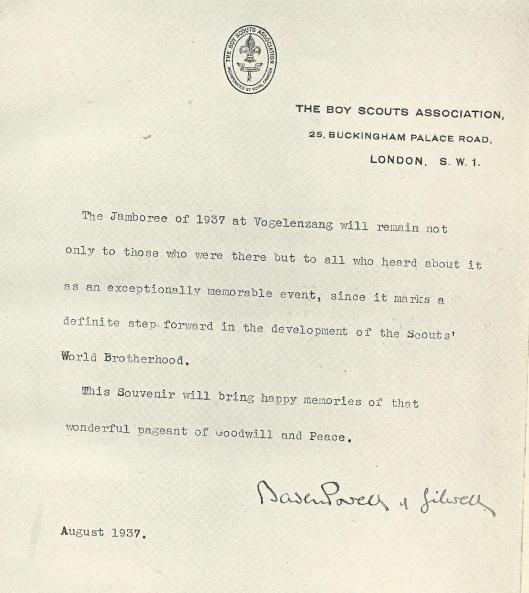 Opwekking van Lord Baden Powell, augustus 1937