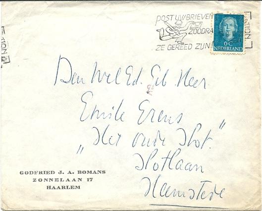 Enveloppe met uitnodigende brief van Godfried Bomans aan Emile Erens (1950)