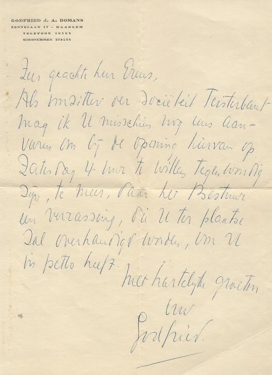 Schrijven van Godfried Bomans aan Emile Erens vioor een 'verrassing' in Teisterbant