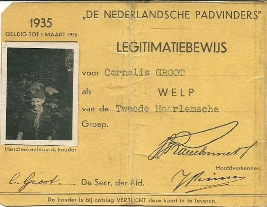 Legitimatiekaart van welp Cornelis (Cees) Groot uit 1935