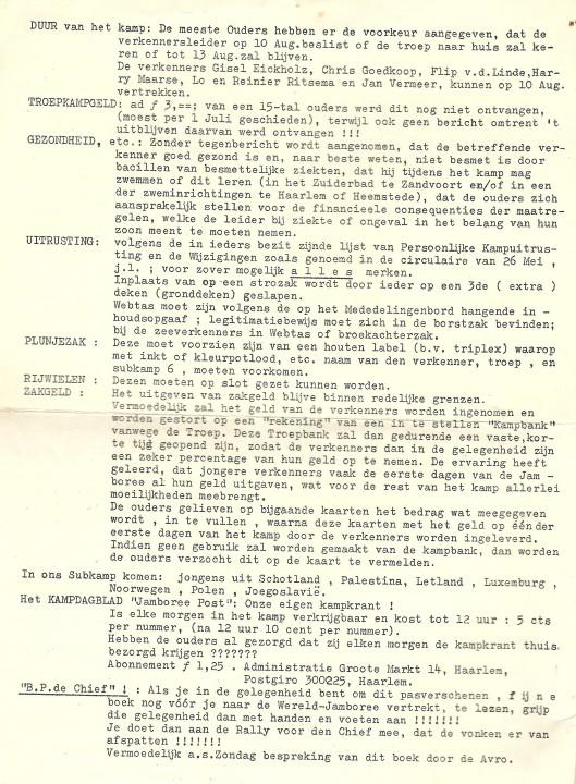 Vervolg: stencil Wereld-jamboree 1937, Die Tweede Haarlem
