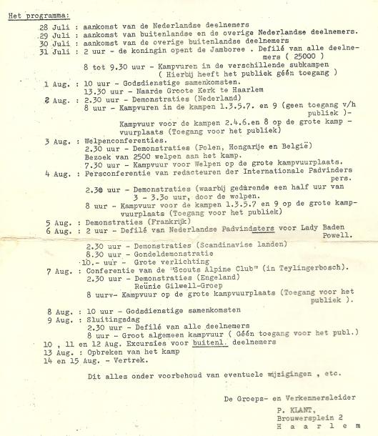 Slot 'Die Tweede Haarlem'Wereldjamboree 1937; programma van 28 juli tot vertrek 15 augustus