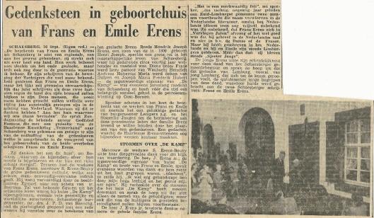 Gedenksteen in geboortehuis van Frans en Emile Erens. Uit: de Tijd of de Maasbode?, 17-9-1951.