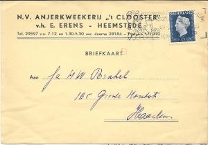 Briefkaart van anjerkwekerij 't Clooster, verzonden op 7-12-1942