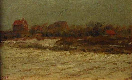 G.H.G.von Brucken Fock: winterlandschap met huizen (Frans Hals Museum)
