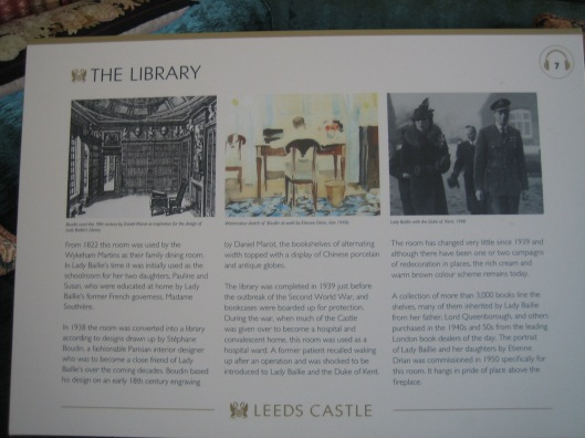 Informatiebord Leeds castle library, ontworpen naar voorbeeld van Daniel Marot