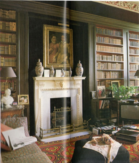 Brown Library in Baronscourt, County Tyron. Gedecoreerd door David Hicks (site: Beautiful Libraries)