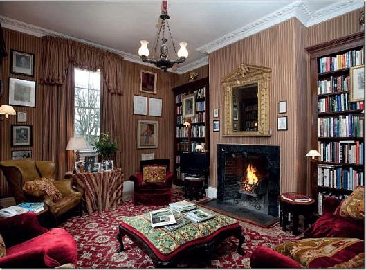 Interior of Bellamont Forest Library. 18th century Palladian villa