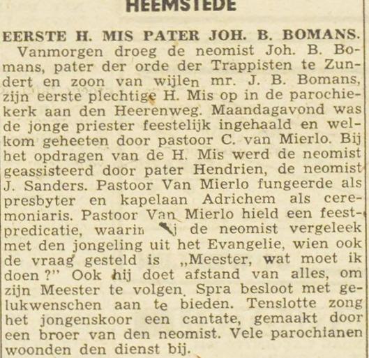 Bericht over wijding tot priester van Jan Arnold Bomans uit de Haarlemsche Courant van 10 augustus 1943.