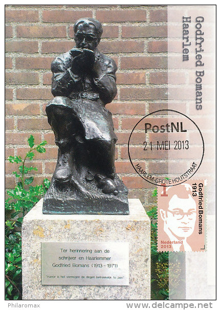 Ansichtkaart van beeld Godfried Bomans door Wim Jonker in Haarlem + postzegel Godfried Bomans 1913-2013