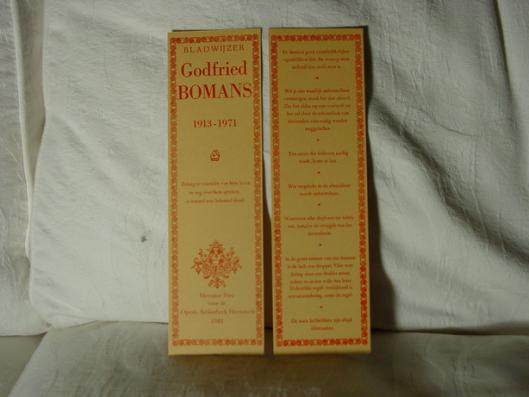 Boekenlegger met 7 aforismen van Godfried Bomans, in 1981 in 150 exemplaren gedrukt op private press Mercator (Santpoort) in opdracht van de Openbare Bibliotheek Heemstede ten gevolge van de tiende sterfdag van de schrijver