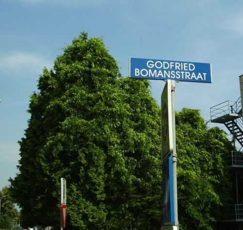 Naar Godfried Bomans zijn talrijke wegen in Nederland genoemd, o.a. in Alkmaar, Almere, Amstelveen, Bladel, Culemborg, Eindhoven, Goes, Haarlem, Heemstede, Heerhugowaard, Landgraaf, Leiderdorp, Lichtenvoorde, Njverdal, Vogelenzang (Bloemendaal), Weert en Woerden. Op deze foto de Godfried Bomansstraat in Culemborg (foto RaDa)