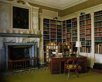 Clandon Park library, West Clandon, Guilford (graafschap Surrey). In 18e eeuws huis door een Venetiaans architect gebouw voor Onslow familie