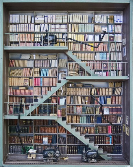 Doll house library by French artist Marc Giai-Miniet (born in 1946)
