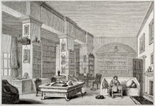 Edgeworth House library, Ireland. Illustration from Magasin Pittoresque, 1850
