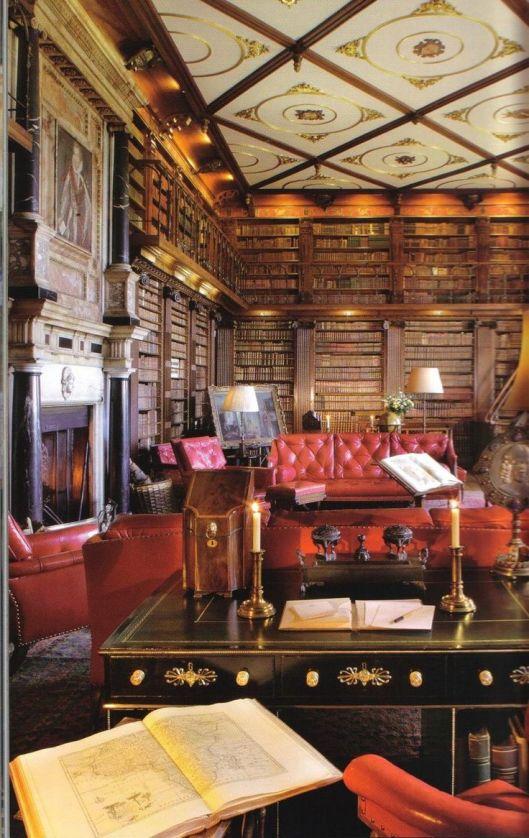 Harfield House library ( waar koningin Elisabeth 1 haar jeugd doorbracht).  Hatfield, Hertfortshire.