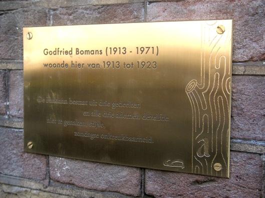 Plaquette aan gevel woonhuis Bomans, Parklaan 12, Haarlem