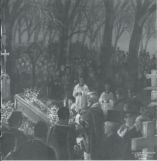 Begrafenis van Godfried Bomans op het Sint Adelbert kerkhof in Bloemendaal, 24 december 1971 getekend door Eppo Doeve