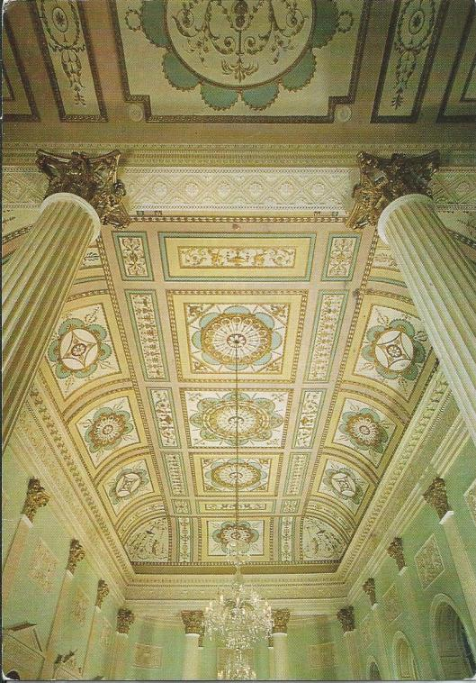 Buxton Library, Derbyshire. Assembly Eoom ceiling. The Crescent regarded by architect John Carr as his masterpiece, was completed in 1784 for the 5th Duke of Devonshire. The Area Library is housed in the part which was originally the Great Hotel, and the Assembly Room decorated entirely in the style of Robert Adam, boasts this magnificent ceiling (Photo Jeremy Marks)