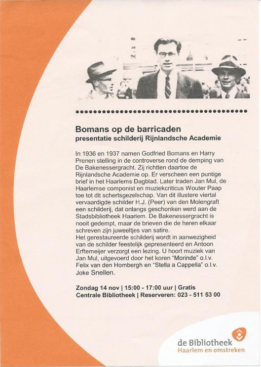 Flyer van presentatie schilderij Rijnlandse Academie door H.J. (Peer) van den Molengraft, 14 november 2010 in de Stadsbibliotheek Haarlem