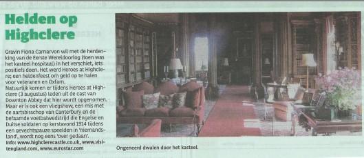 De bibliotheek van Highclere speelt een belangrijke rol als decor in de televisieserie 'Dowton Abbey' (Haarlems Dagblad, weekendmagazine, 26 juli 2014)