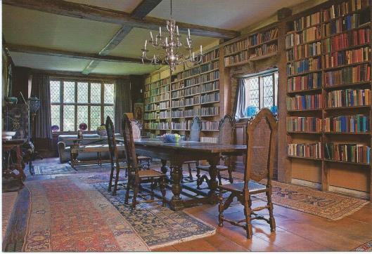 Postcard of library in Sissinghurst Castle, Kent. The Long Library is the largest house in the existing house and was created out of the old stables, it accommodates circa 4.000 books accumulated from 40 years of reviewing.