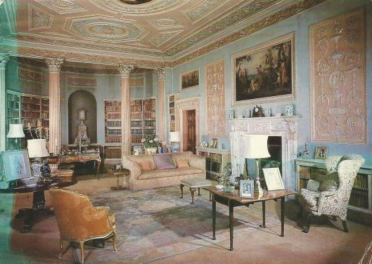 The Library, originannly the Dining Room,which was deigned by Robert Adam, between 1767 and 1769 for William Meddell,the geat collecor and owner of Newby Hall,Ripon, North Yorkshire