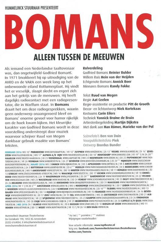 Flyer in informatie over 'Bomans alleen tussen de meeuwen' met Reinier Bulder, Hein van der Heijden, Annick Boer en Randy Fokke. (2016)