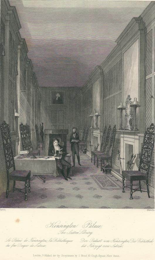 Gravure uit 1841 van de hertog van Sussex August Frederick (1773-1843) in Kensington Paleis, Londen