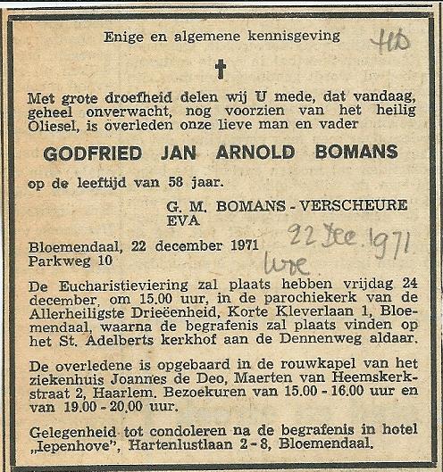 Overlijdensbericht Godfried Jan Arnold Bomans uit het Haarlems Dagblad van 22 december 1971.
