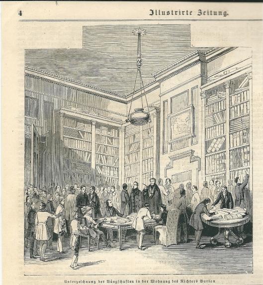 Ondertekening van een verdrag in de woning (bibliotheekkamer) van de Ierse rechter Burton in Dublin. Uit: Illustrierte Zeitung, 1943.