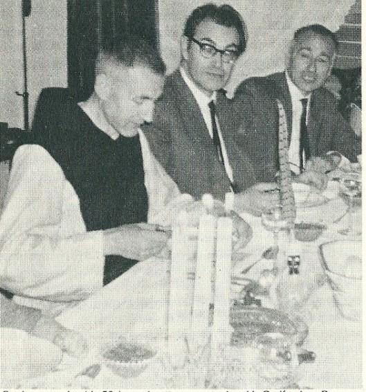 Godfried in 1963 bij een familiedineetje ter gelegenheid van zijn 50ste verjaardag met links van hem Arnold en Rex ter rechterzijde.