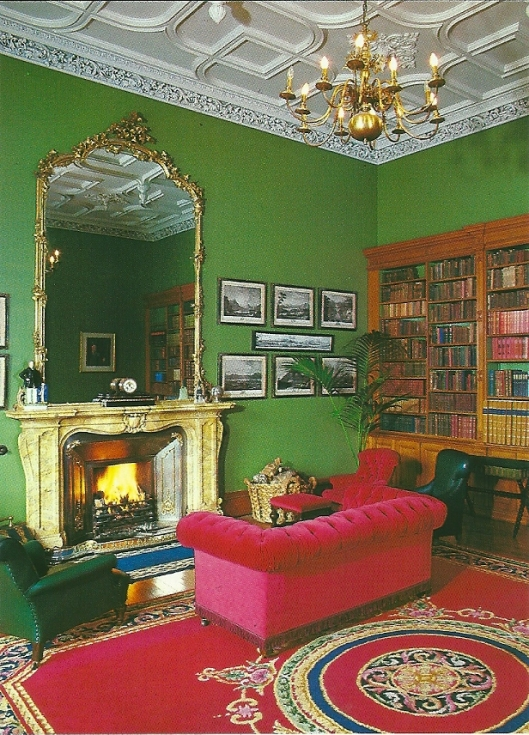 Muckross House. Postcard depicting part of the drawing room and library