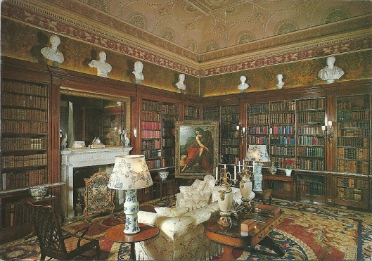 Harewood House (Yoekshire): The Spanish Library. The 17th Century wall covering of Spanish leather above the Victorian bookcases, gives the Library its name. The painting on the easel is of 'St.John The Baptist' attributed to Ribera.