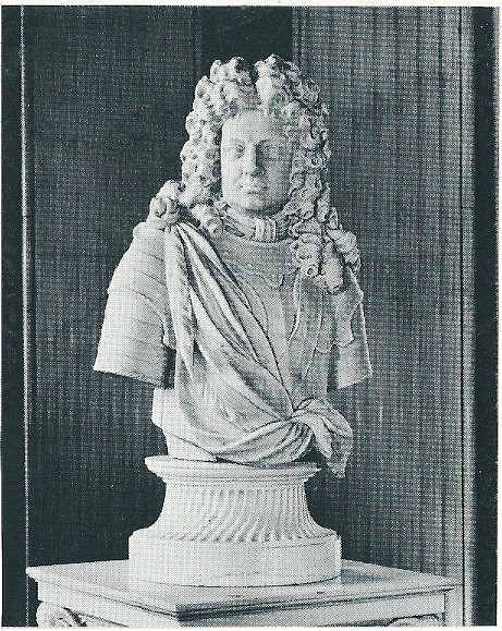 Buste van de hertog van Marlborough in de Blenheim-bibliotheekzaal