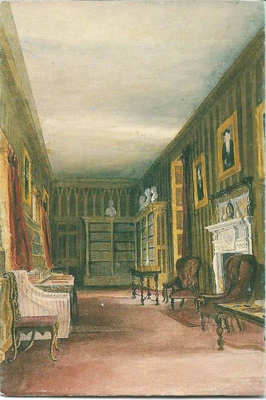 De bibliotheek in Newstead (Nottingham) van de familie Byron,. Aquarel uit circa 1850 op een ansichtkaart