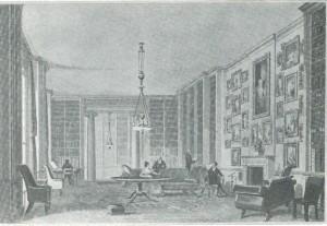 De 'long library' in Althorp op een 18e eeuwse afbeelding