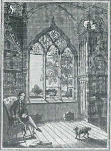 Nog een gravure van Strawberry Hill bibliotheek, Twickenham, Londen
