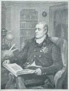 Gravure van George John, tweede graaf van Spencer, in zijn huisbibliotheek te Althorp