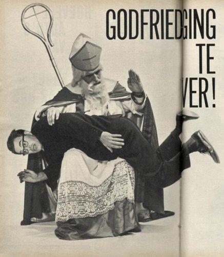 Godfried Bomans krijgt straf van Sinterklaas naar aanleiding van zijn optreden tijdens het Grand Gala du Disque in 1963 (fotomontage)