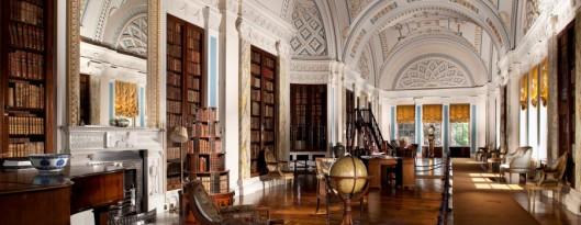 Bibliotheek in Sledmere House, Driffield, Yorkshire. Met collectie antieke boeken. In 1979 helemaal gerestaureerd.