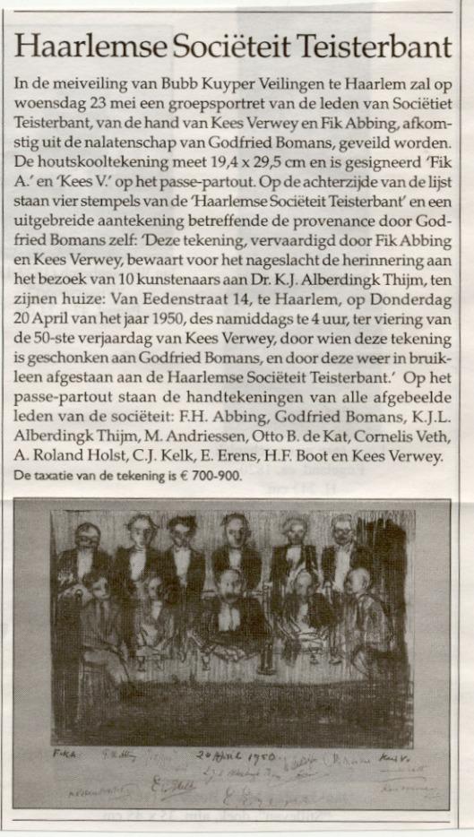 Teisterbant-memorabilium geveild bij Bubb Kuyper In Haarlem