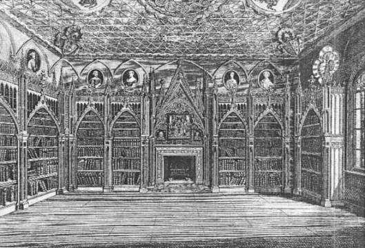 18e eeuwse gravure van de Strawberry Hill library