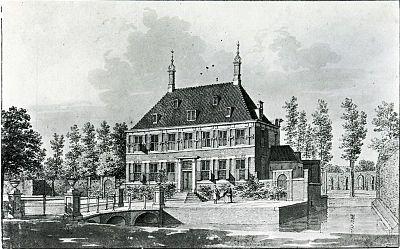 De hofstede Akerendam bij Beverwijk, in 1756 getekend door Cornelis Pronk, was eigendom van Nicolaas Geelvinck.