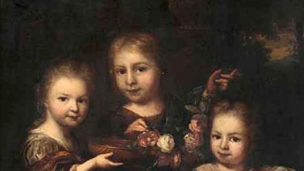 Nog een schilderij van Arnold Boonen (uit omstreeks 1705) met van lijks naar rechts: Agatha Levina Geelvinck, broertje Joan Geelvinck en zusje Anna Elisabeth Geelvinck (Rijksmuseum Amsterdam)